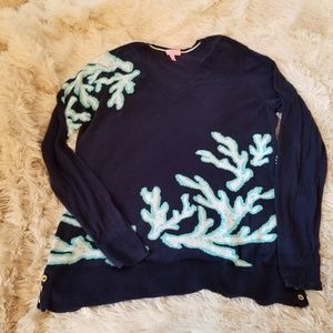 Lilly Pulitzer navy coral lightweight sweater XL